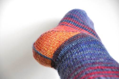 Finished 1. pair of Burning stripes socks-close up of heel-1