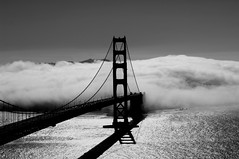 Golden Gate in fog (Mr. Physics) Tags: sanfrancisco california bridge blackandwhite white black water fog bay blackwhite suspension goldengatebridge goldengate fullhouse flush straight whiteandblack 3ofakind 4ofakind msoller