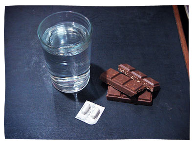 Water. Panadol. Chocolate.