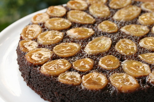 Chocolate-Caramel-Banana Upside-Down Cake