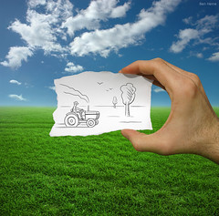 Pencil Vs Camera - 9 (Ben Heine) Tags: life new blue summer tractor tree green art nature field grass birds landscape countryside movement colorful warm poem hand belgium path farm smoke horizon main fingers cartoon champs culture 9 move vert exhibition dessin improvisation crop simplicity half series farmer conceptual t nuages paysage dimension campagne opticalillusion detailed routine doigts number9 miseenabyme herbes innovative fermier theartistery petersquinn justclouds mywinners agriculteur benheine nikond10 braives simplesketch drawingvsphotography 2dvs3d traditionalvsdigital flickrunited pencilvscamera diasecprint newformofexpression europeincloud