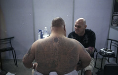bangkok int'l tattoo convention.. (mark justin harvey) Tags: film tattoo thailand nikon fuji bangkok traditional bamboo international negative convention nikkor protection fujipress800 fe2 c41 sakyant 35mmf14ai