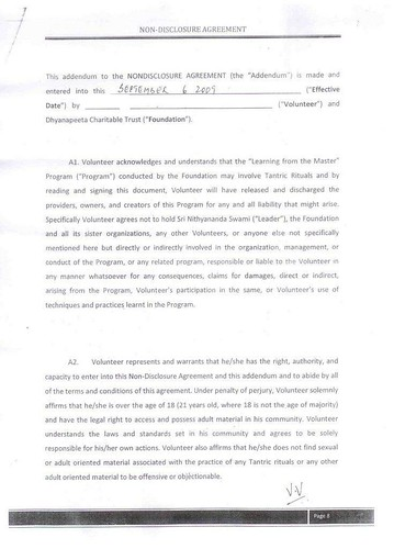 Copy of Page 8 the agreement Swami Nithyananda got signed from devotees consenting for sex practices