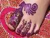 Purple Glitter on Henna 3 Year Old Olivia's Foot Volcano Blue Henna