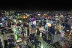 Give Me Shibuya! (Dan Chui (on/off!)) Tags: park city travel urban motion cars colors japan modern night buildings shopping ads advertising geotagged lights tokyo evening nikon neon glow cityscape technology adobephotoshop nightscape traffic famous shibuya citylife vivid landmark aerial busy  b