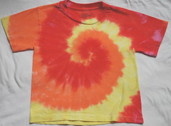 4T tie dye short sleeved shirt-red/orange/yellow