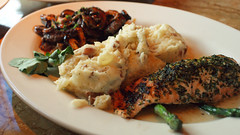 Steak Diane and Salmon