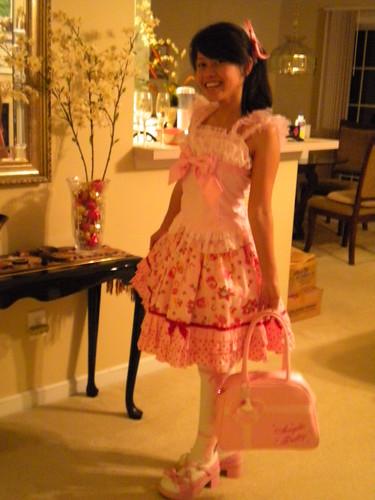 Sweet Jam pink Skirt, AP frill tank top, AP present purse