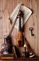 Mademoiselle Pochette a still life (after William Harnett) (kevsyd) Tags: music stilllife score pochette skeletonkey williamharnett kevinbest