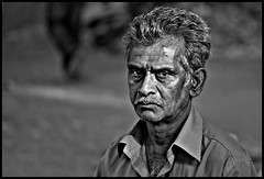 The Look (Prabhu B Doss) Tags: portrait blackandwhite india macro nikon market bangalore 105mm fruitvendor humanfaces d80 madiwala sunshinemarket prabhubdoss