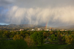 Falling Rain over Boise (Nick / KC7CBF) Tags: foothills rain clouds silver spring rainbow downtown day idaho boise capitol showers explored regionwide