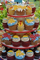 Super Hero Cupcake Tower (jdesmeules (Blue Cupcake)) Tags: birthday tower super cupcake hero superhero fondant