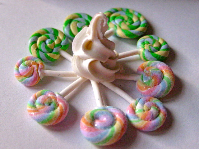 Soft Serve Ice cream and lollipop suckers. 100% Polymer Clay by Amber Dawn
