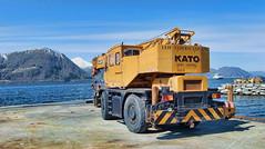KATO kran -|- Crane on quay (erlingsi) Tags: norway crane vehicle oc 169 gul volda kato krane erlingsivertsen kystkultur maritimeimpression