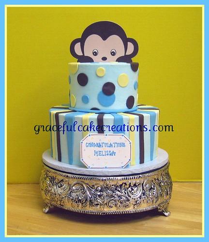 Mod Monkey Baby Shower Cake