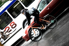ride28 (damonabnormal) Tags: street city urban philadelphia bicycle canon cyclist traffic may streetphotography pa fixed bicyclist fixie fixedgear messenger philly phl 2010 bikemessenger tiltshift 40d