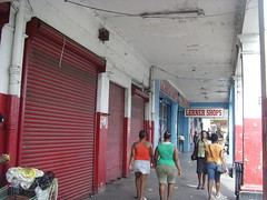 Downtown Kingston Jamaica is quiet as people fear gun battles between the people protecting so-called don man Dudus and the police (bbcworldservice) Tags: world school girls boys gardens tivoli town athletics downtown assignment champs christopher coke lord kingston bbc jamaica drug service 2010 denham dudus