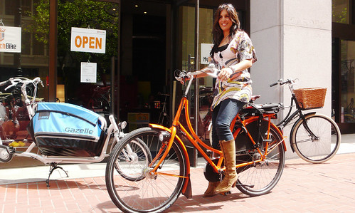 Soraya on Orange bike