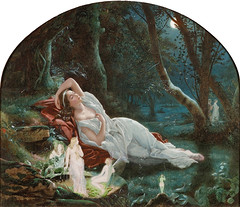 "John Simmons (British, 1823-1876), ""Titania sleeping in the moonlight protected by her fairies"" (sofi01) Tags: art fairytale painting magic fineart shakespeare fairy watercolour fairies titania elves midsummernightsdream victorianart britishartist johnsimmons"