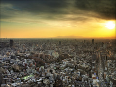 Sunset over Tokyo (RyanMussbacher) Tags: city sunset sky orange mountain color building yellow japan skyline japanese tokyo colorful asia cityscape fuji view skyscrapers dusk panasonic fujisan nippon 20mm hdr nihon mtfuji crowded cityskyline 2010 cityview gf1 5xp japanhdr 5xphdr hdrjapan tokyohdr panasonicgf1 lumixdmcgf1