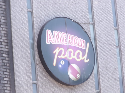 Signs on the former Megabowl, Pershore Street, Birmingham - Americal Pool sign