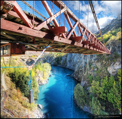 Kawarau Suspension Bridge, Queenstown  (Hot Spot for Bungy Jumping :)) :: HDR :: Vertorama (Artie | Photography :: I'm a lazy boy :)) Tags: bridge newzealand christchurch nature photoshop canon river landscape landscapes suspension tripod wideangle southisland queenstown ropes 1020mm hdr kawarau artie kawaraubridge bungyjumping cs3 kawaraususpensionbridge 3xp sigmalens photomatix tonemapping tonemap xti 400d rebelxti vertorama