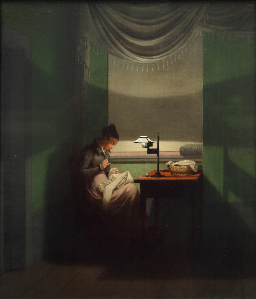 Georg Friedrich Kersting, Junge Frau, beim Schein einer Lampe nähend [Young Woman Sewing by the Light of a Lamp], 1828