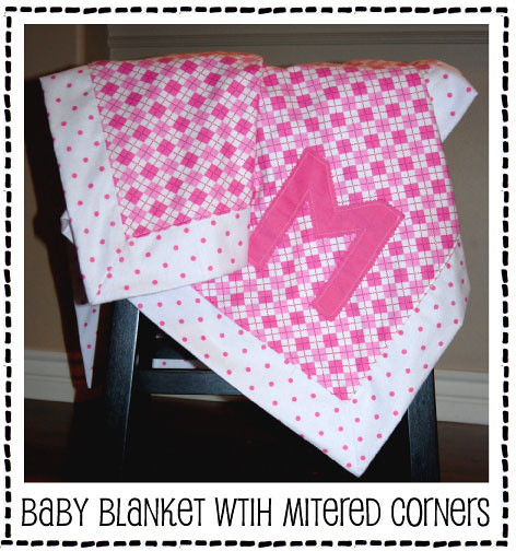 Monogrammed Blanket with Mitered Corners