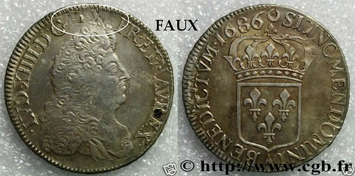 Chinese Counterfeit of 1686 French coin