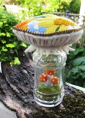 I'm keeping this one for myself!! (woolly  fabulous) Tags: orange mushroom yellow recycled saltshaker zipper pincushion embroidered terrarium ecofriendly crewel