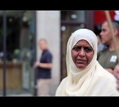 The Faces Of Gaza Demonstrators (Rukz_Dslr - Away) Tags: people london public hijab demostration gaza stopthewarcoalition palestinesolidaritycampaign