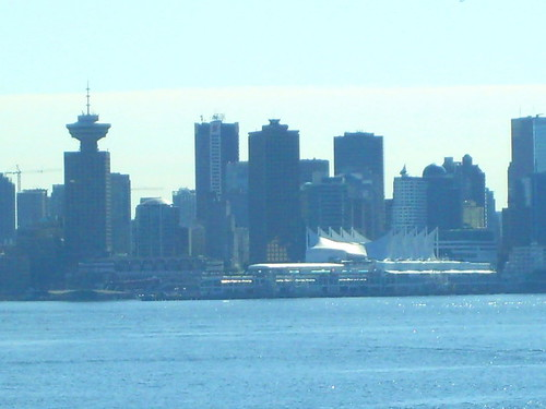 From Lonsdale Quay, a look back at Downtown Vancouver and Coal Harbor with the Sears Tower (BCIT campus) and Canada Place