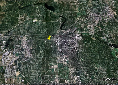 location of the green renovation in Ann Arbor (via Google Earth)