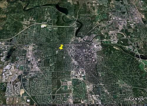 location of the green renovation in Ann Arbor (via Google Earth)