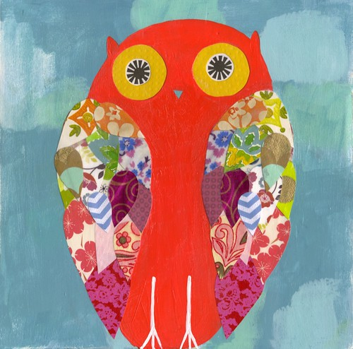 orange owl painting