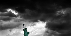 Liberty Storm Front (Selective) (Zen Mountain) Tags: newyorkcity storm clouds america liberty patriotic pride front statueofliberty patriot patriotism ladyliberty selectivecolor