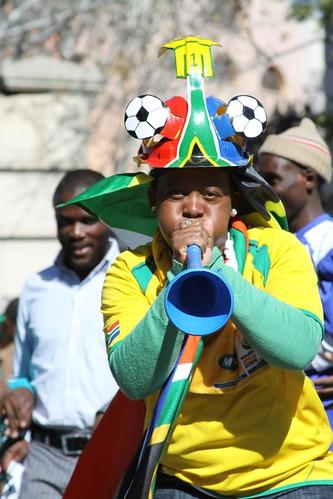 Mundial Sudáfrica hincha con corneta