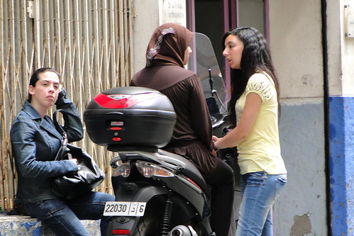 casablanca morocco girls. Trio of Girls with Motorbike