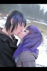 Nate and his girl soooo cute! (Rox¥ Ru$h) Tags: rainbow neon sweet emo scene purplehair youtube desandnate diamondslightningboltz desnate