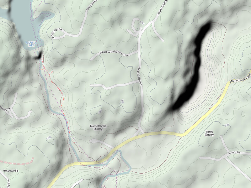 Marriottsville Quarry with SRTM1 hillshading