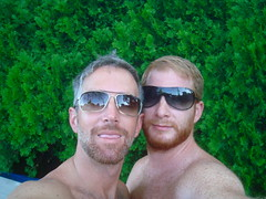 tip of tongue tuesday (redjoe) Tags: light hairy sun green sunglasses tongue hair outside ginger washingtondc us dc backyard afternoon fuzzy redhead together facialhair freckles redhair shoulder bushes fuzz saltandpepper redjoe joehorvath