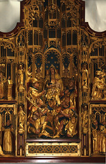 Lichfield, Staffordshire, cathedral, lady chapel, altar, detail (groenling) Tags: wood uk england saint angel joseph cathedral shepherd mary jesus birth carving altar bagpipes staffordshire nativity woodcarving crook lichfield staffs ladychapel nativitas mmiia bvmandstchad