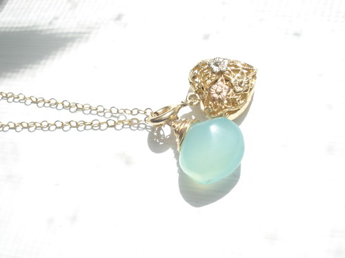 Blue Chalcedony and 14kt Gold Heart