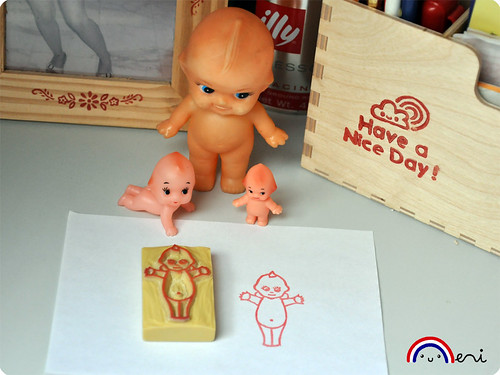 Kewpie doll hand carved rubber stamp