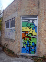 (Barrybu) Tags: street door chicago art graffiti alley logan