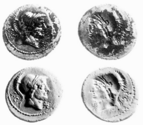 389-1 L.Rusti Plated Brockage, coin above and plaster cast below illustrated, ref. Clive Stannard 1998