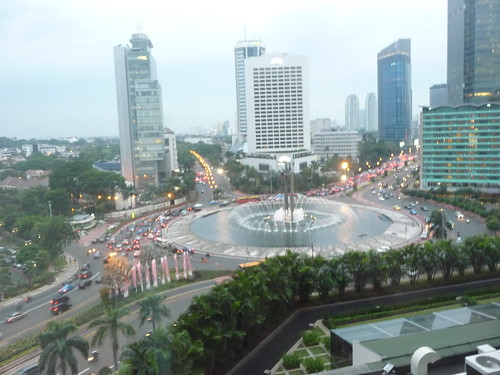 View over Thamrin with the Mandarin Oriental and the Hotel Indonesia (now part of Kempinski)