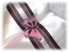 Butterfly Theme Pink and Brown Ringbearer Pillow (sixcatspinnsew) Tags: ringpillow brownwedding pinkwedding ringcushion weddingpillow weddingitems weddingaccessory chocolatebrownwedding pinkandbrownringpillow butterflyringpillow butterflythemeringbearerpillow weddingfashionaccessories