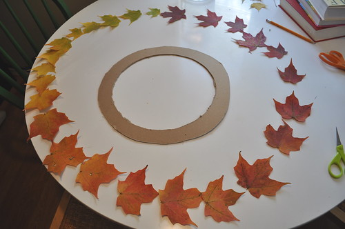 Leaf Wreath - Preparing to glue