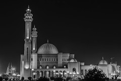 Black and white Photo of the Al Fateh Grand Mosque in Manama, Bahrain (Clicks by Mike) Tags: tourism travel cityscape nightshot blackandwhite nikon d7100 juffair manama bahrain grandmosque